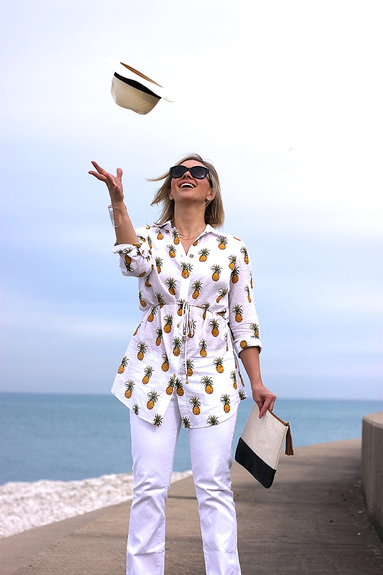 Tory Burch Pineapple Mira Beach Shirt_0152
