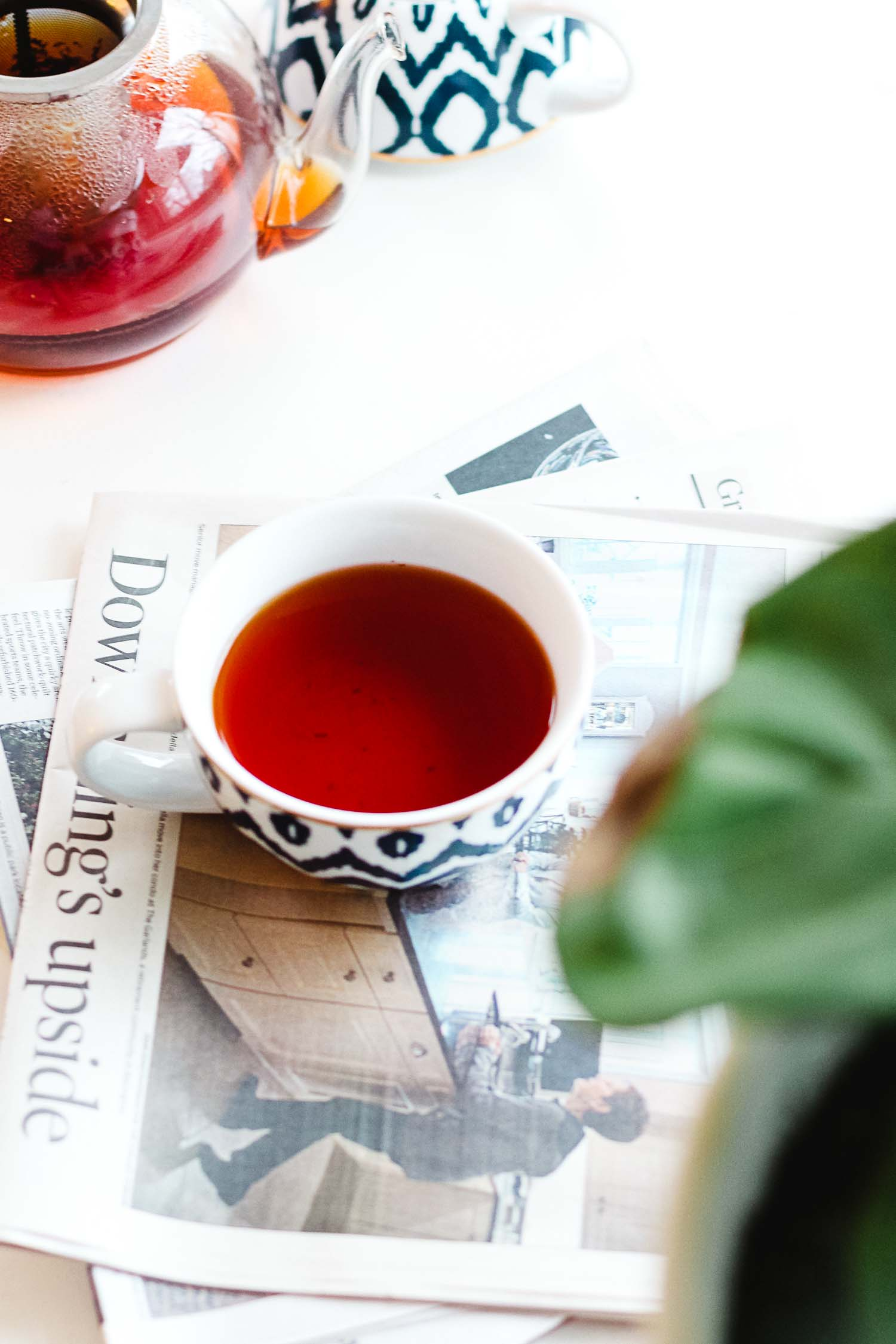 argo tea resting on a newspaper