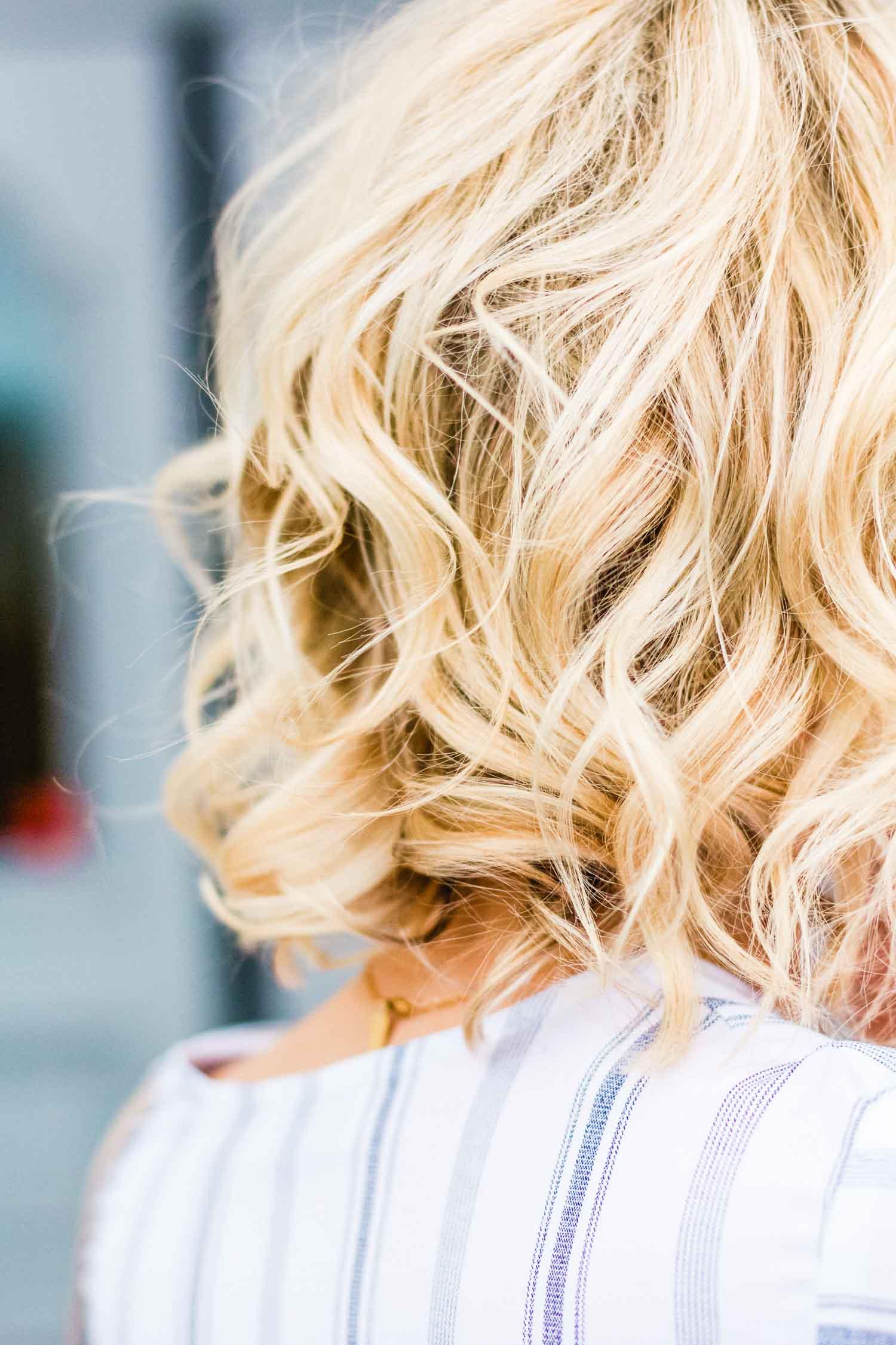 blonde short curly hair