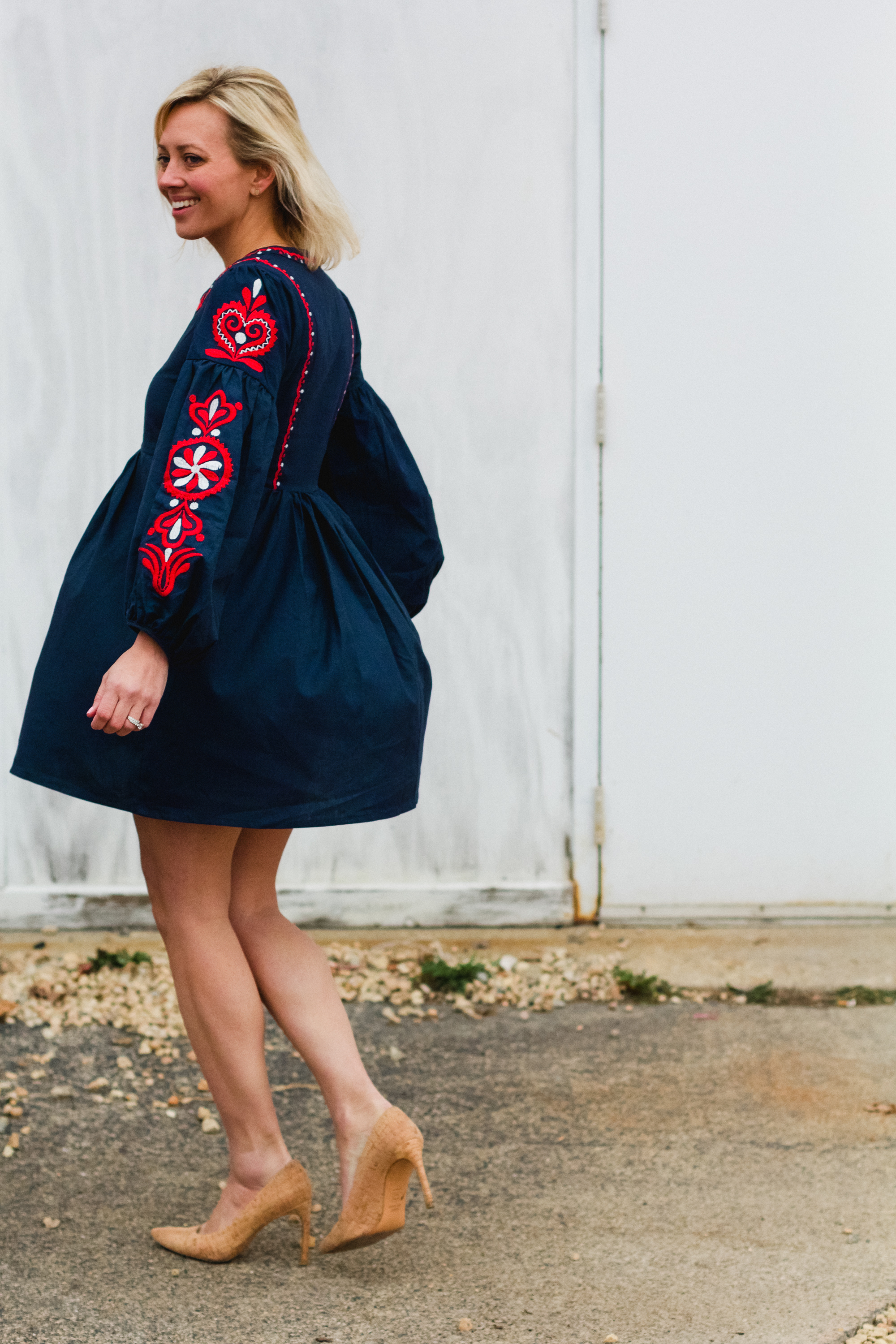 Navy Embroidery Fringe Detail Shift Dress