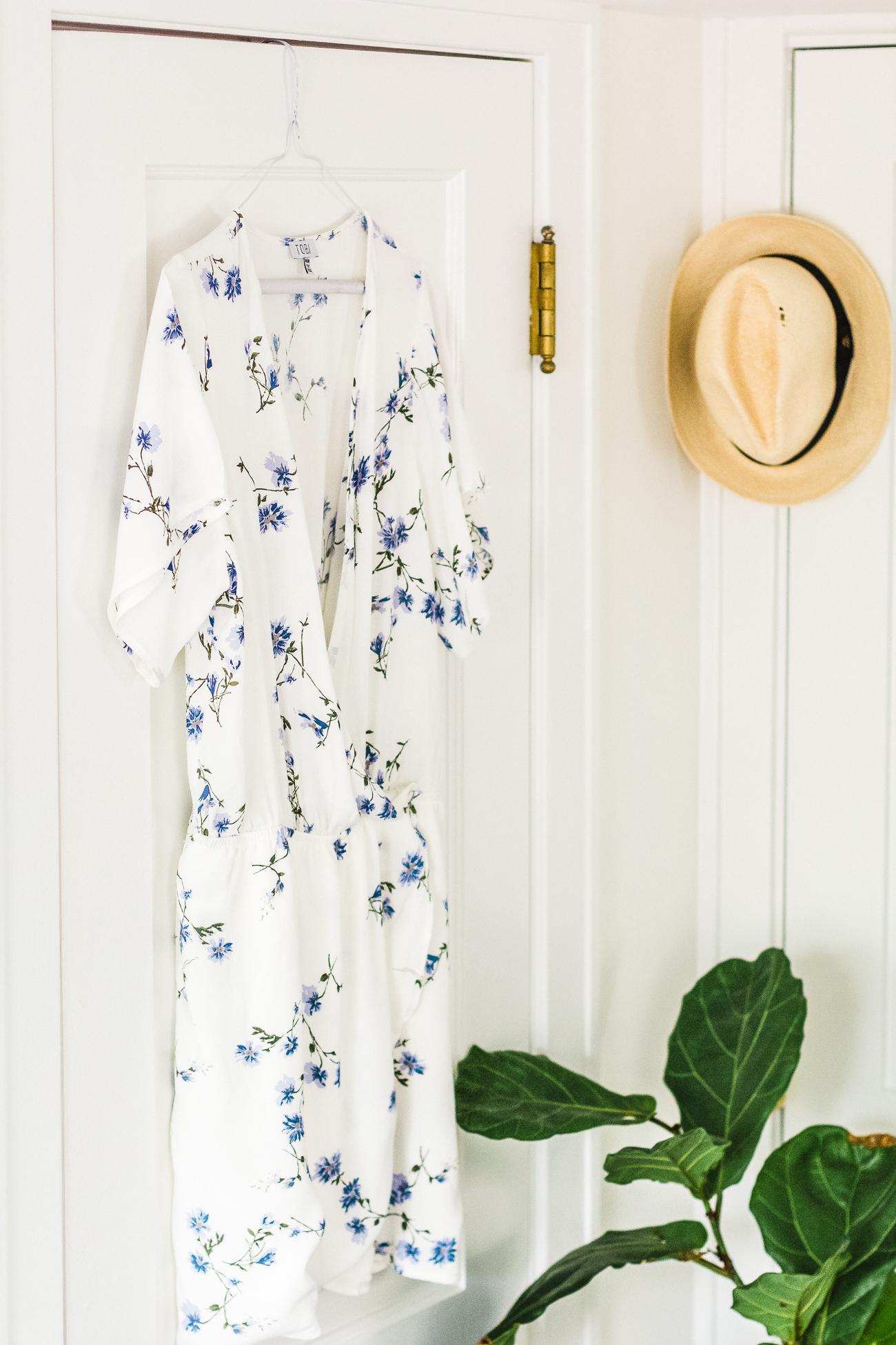 tobi blue and white floral print wrap dress