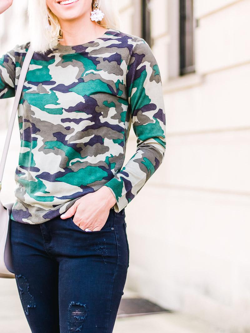 jcrew tippie camo sweater