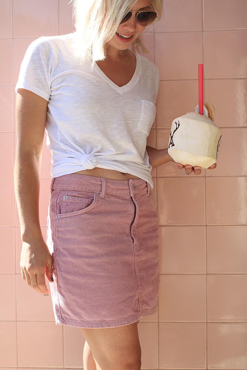 top shop pink corduroy skirt