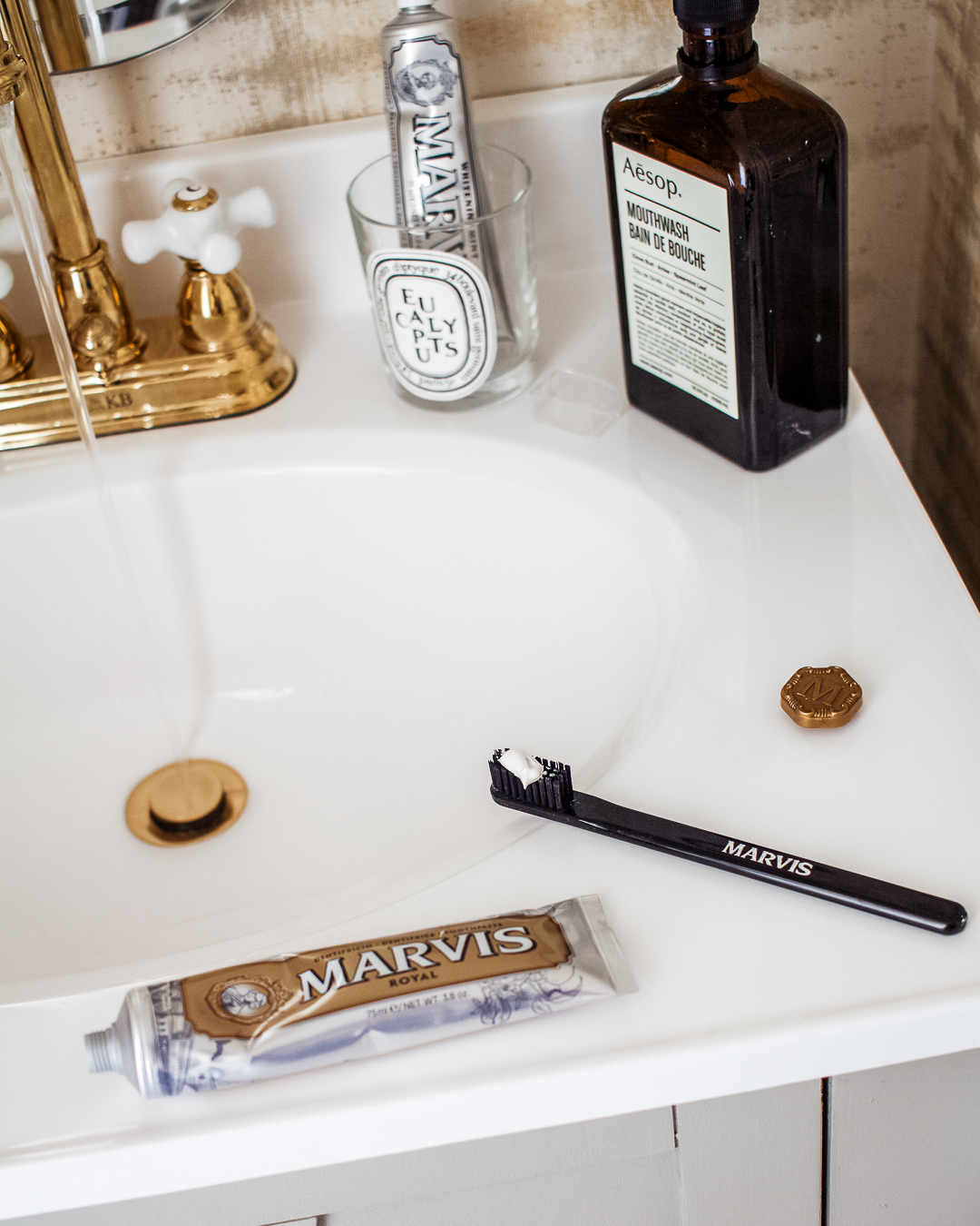 marvis toothpaste and toothbrush aesop mouthwash