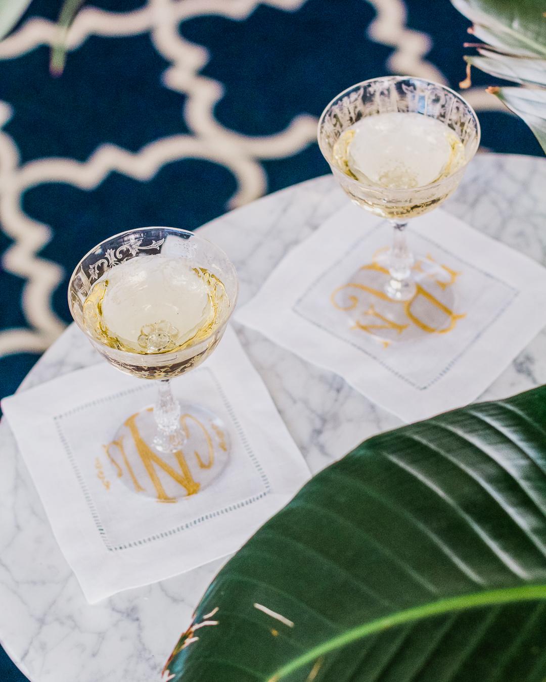 champagne on linen cocktail napkins